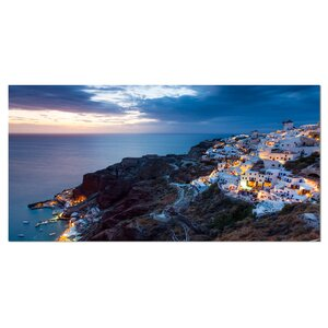 'Night Shot Oia Santorini Greece' Photographic Print on Wrapped Canvas