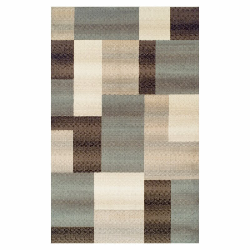 Williston Forge Svetlana Power Loomed Light Blue Brown Area Rug