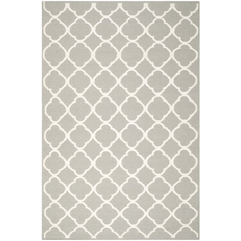 Safavieh Dhurrie Hand Woven Wool Light Gray Ivory Area Rug