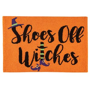 Good Shoes Off Witches Halloween Parfait Orange Area Rug