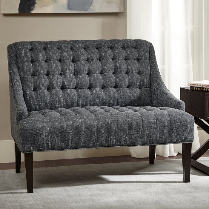 damask button settee swoop tufted white bench upholstered loveseat black