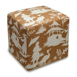 Chinoiserie Upholstered Cube Ottoman by 123 Creations