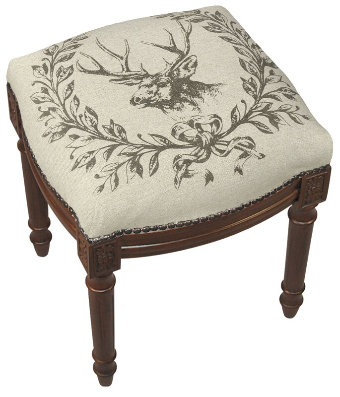 123 Creations Elk Linen Upholstered Vanity Stool With