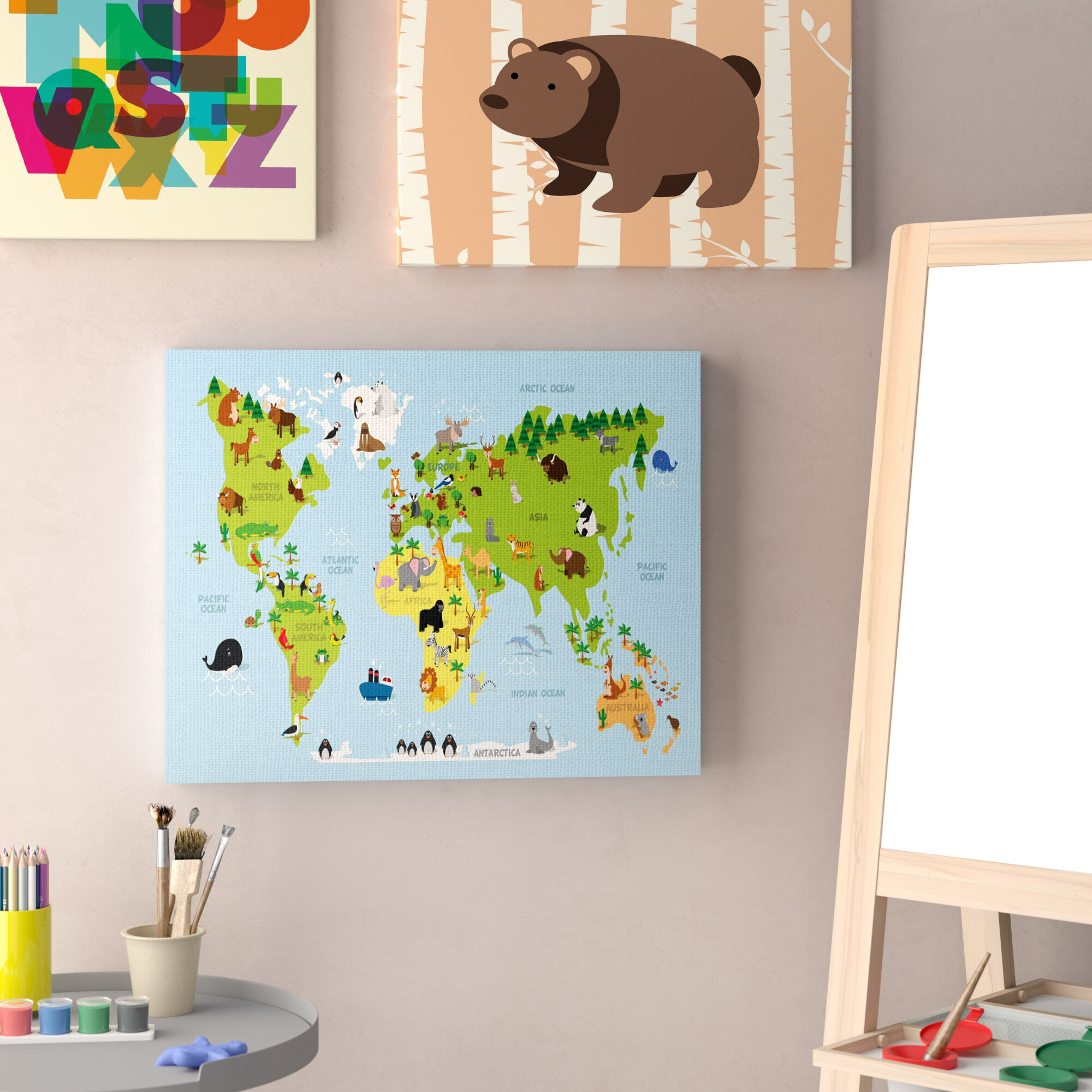 Harriet Bee The Kids Room by Stupell World Map Cartoon And Colourful ...