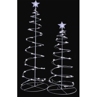 led lighted spiral christmas trees yard decoration set of 2 - Lighted Christmas Tree Yard Decorations