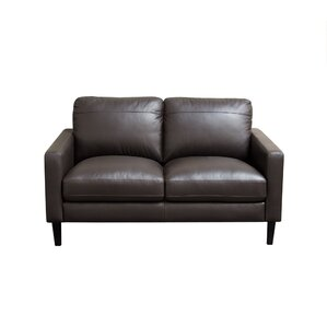 Omega Leather Loveseat by Diamond Sofa