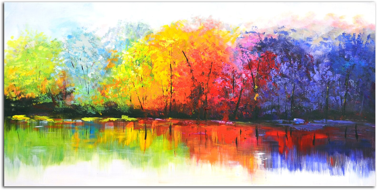 Reflective+Rainbow+Trees+Painting+on+Canvas