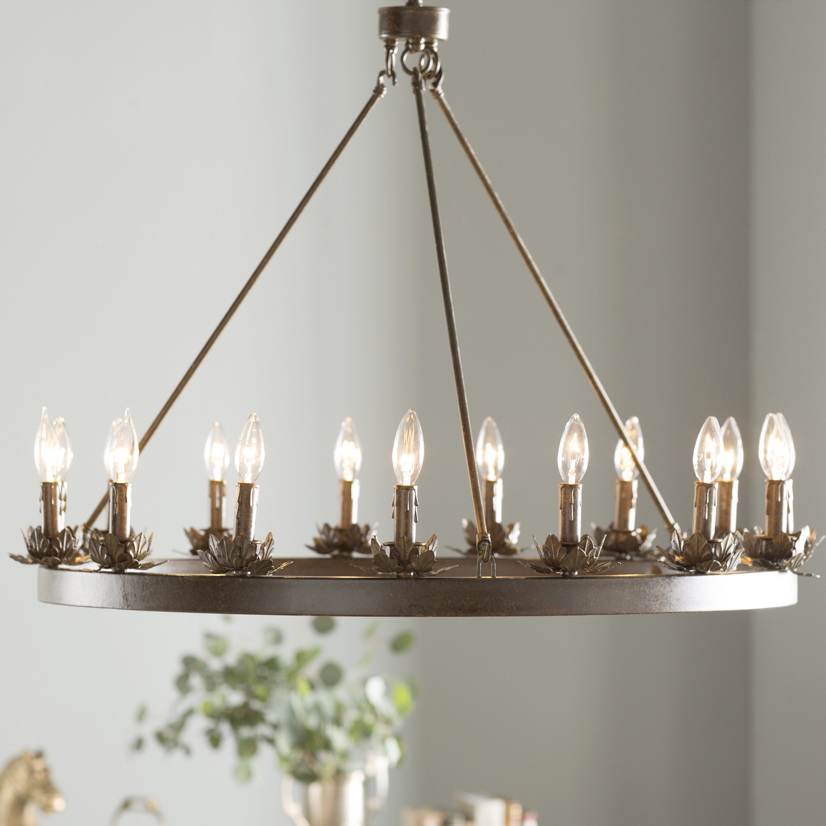 Mcmahon 12 light wagon wheel chandelier