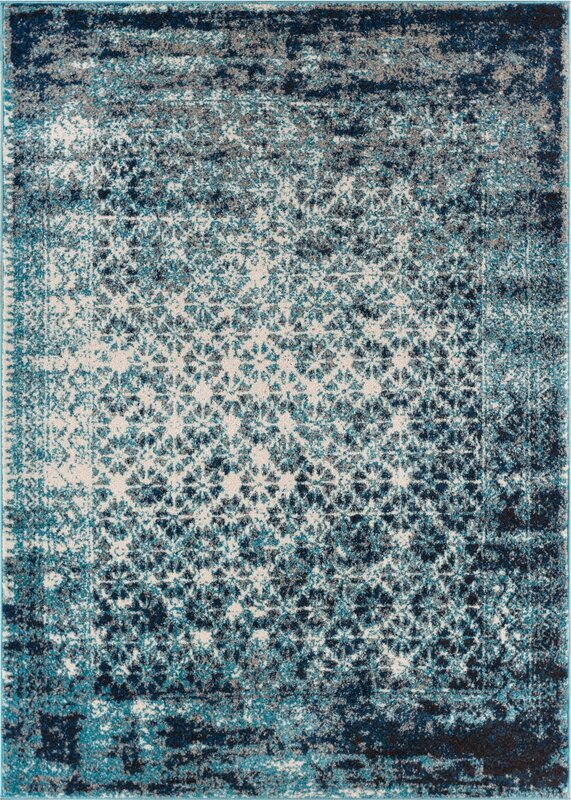 Allentow Modern Distressed Royal Blue Area Rug