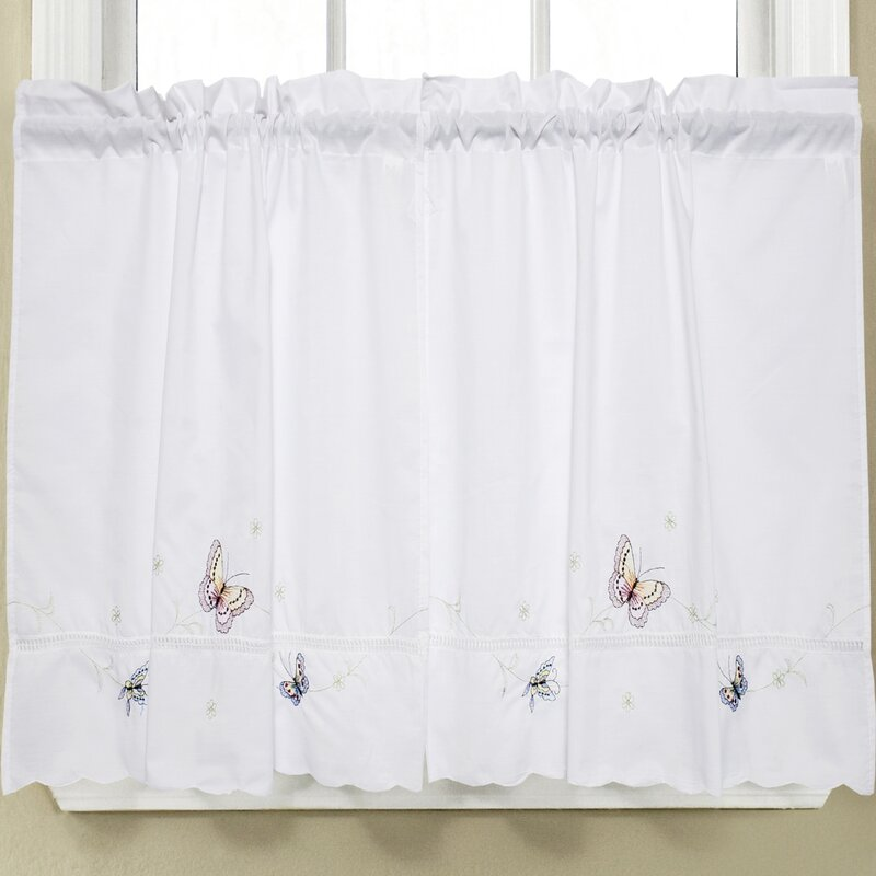 Butterfly Kitchen Curtains: Sweet Home Collection Monarch Embroidered Butterfly
