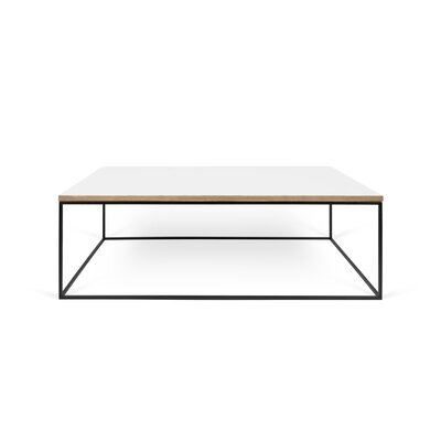 Brayden Studio Soltane Coffee Table Table Top Color: Pure White, Table Base Color: Black Lacquered Steel