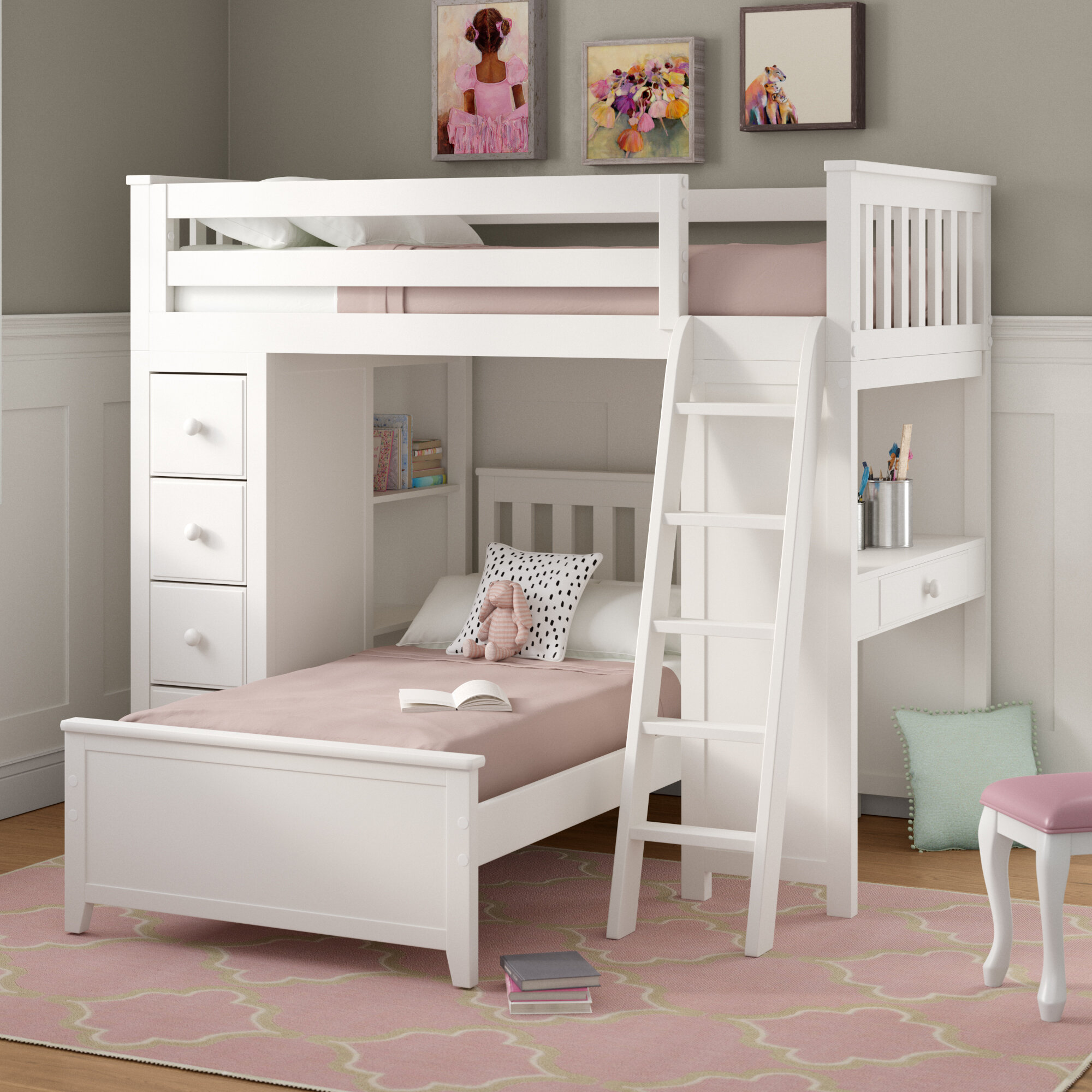 Harriet Bee Ayres Twin L Shaped Bunk Bed With Drawers Wayfair
