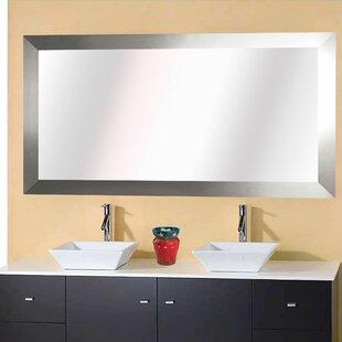 Hogge Modern Brushed Nickel Large Frame Wall Mirror