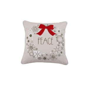 Peace Wreath Holiday Pillow Protector by Affluence Home Fashions