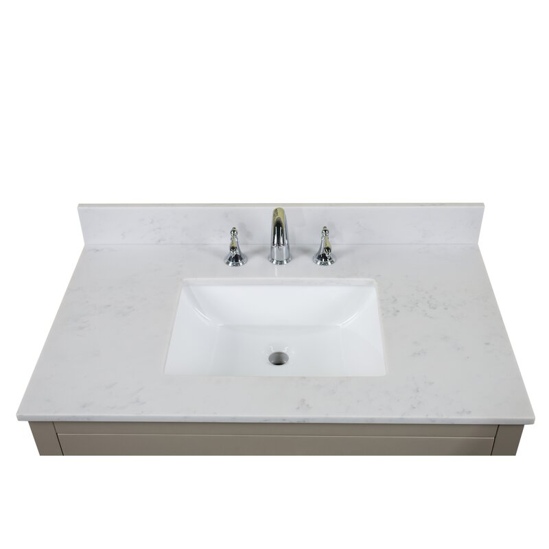 "RenaissanceVanity Carrara Quartz 37"" Single Bathroom ..."