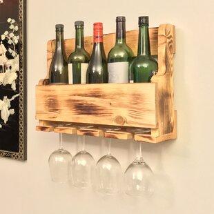 5 Bottle Wall Mounted Wine Bottle Rack