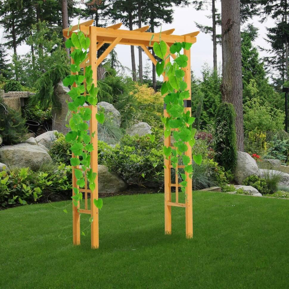 Outsunny 7 fir wood square outdoor garden pergola style arbor arch trellis