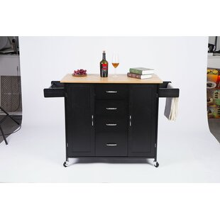Ailani Kitchen Cart with Bamboo Top