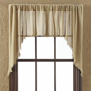 Francoise Cloth Khaki Fringed Swag Curtain Valance Set Of 2