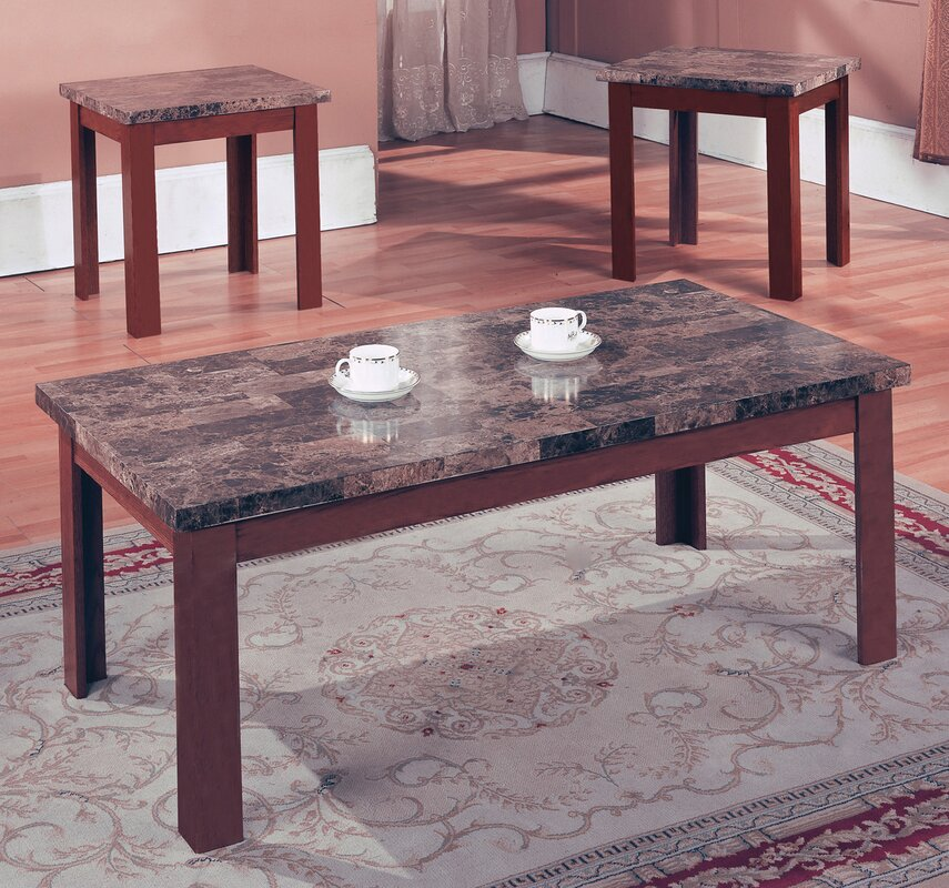 Marble Coffee Table Walmart: Andover Mills Cecil Marble Top 3 Piece Coffee Table Set