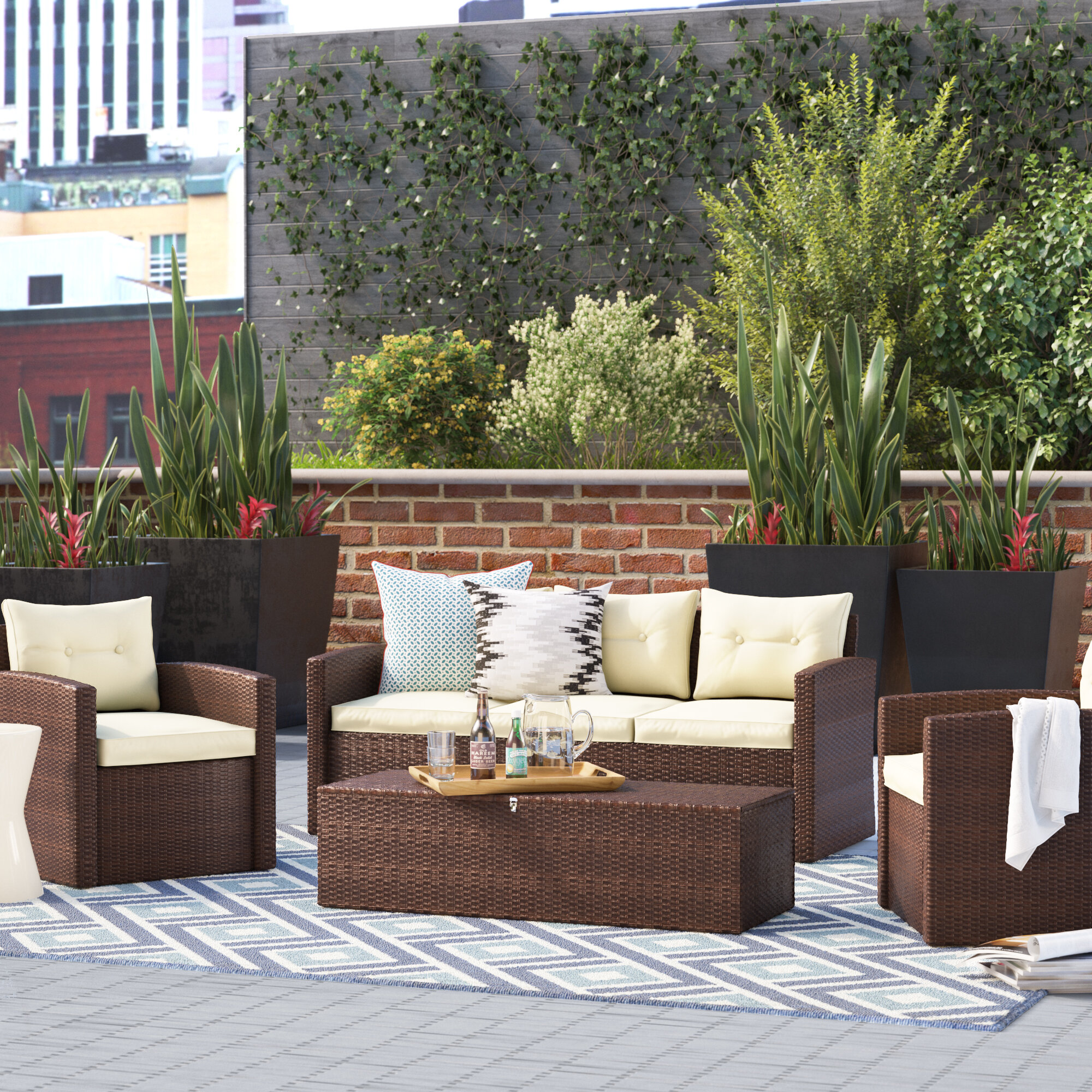 Wrought Studio Sanor 4 Piece Rattan Sofa Seating Group With Cushions Reviews Wayfair