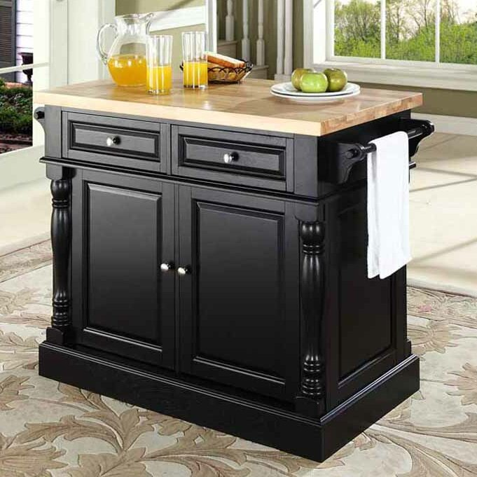 Captivating Lewistown Kitchen Island With Butcher Block Top