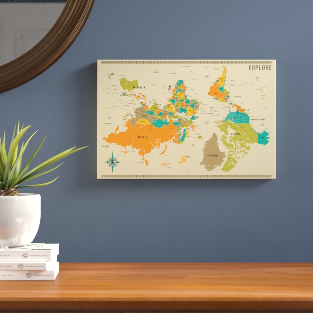 Langley street upside down new world map graphic art on wrapped langley street upside down new world map graphic art on wrapped canvas reviews wayfair sciox Images