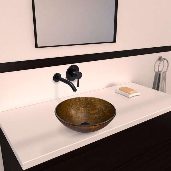 Vigo Textured Copper Glass Vessel Bathroom Sink And Olus