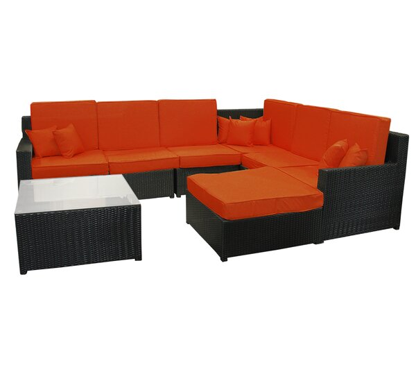 Northlight 8 Piece Resin Wicker Outdoor Furniture Sectional Sofa