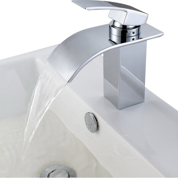 Single Handle Deck Mount Waterfall Bathroom Sink Faucet