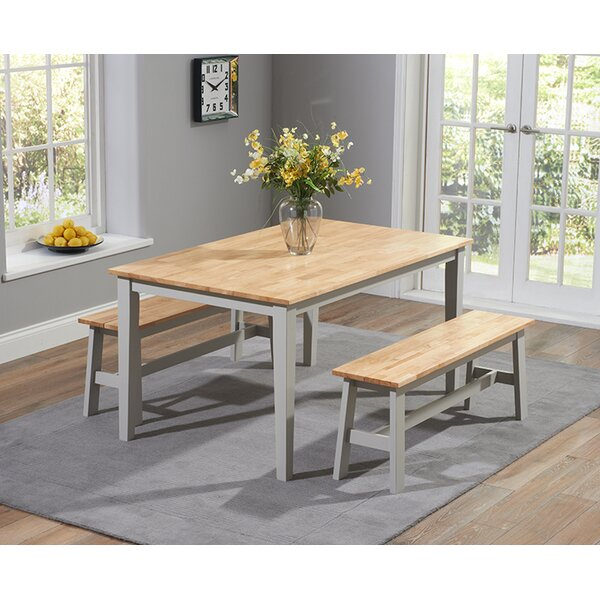 Bench With Dining Table Set: Breakwater Bay Beecher Falls Dining Set With 2 Benches & Reviews