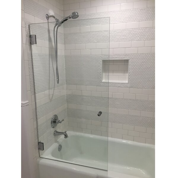 Frameless Shower Door Over Bathtub