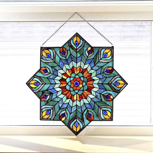 River of Goods Peacock Star Tiffany Style Stained Glass Window ...