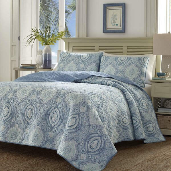 Tommy Bahama Bedding Turtle Cove Caribbean Blue Reversible