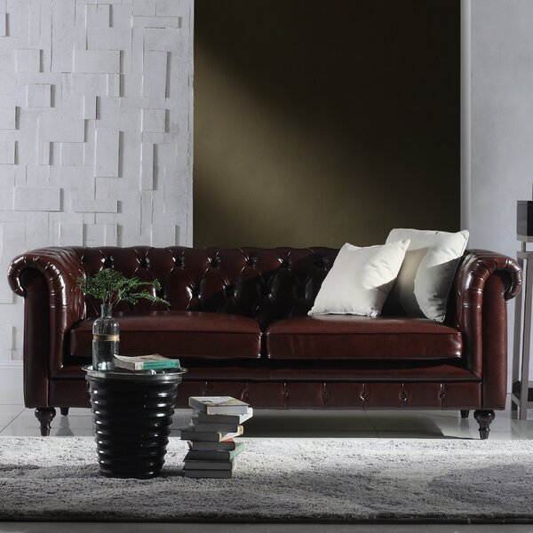 Madison Home Usa Tufted Chesterfield Leather Sofa & Reviews | Wayfair