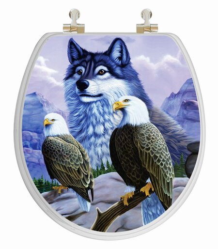 topseat 3d vario scenario series wolf and eagle round toilet seat topseat 3d vario scenario series wolf and eagle round toilet seat reviews wayfair