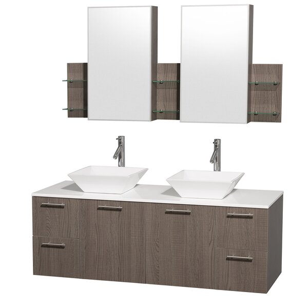 "wyndham collection amare 60"" double gray oak bathroom vanity set"