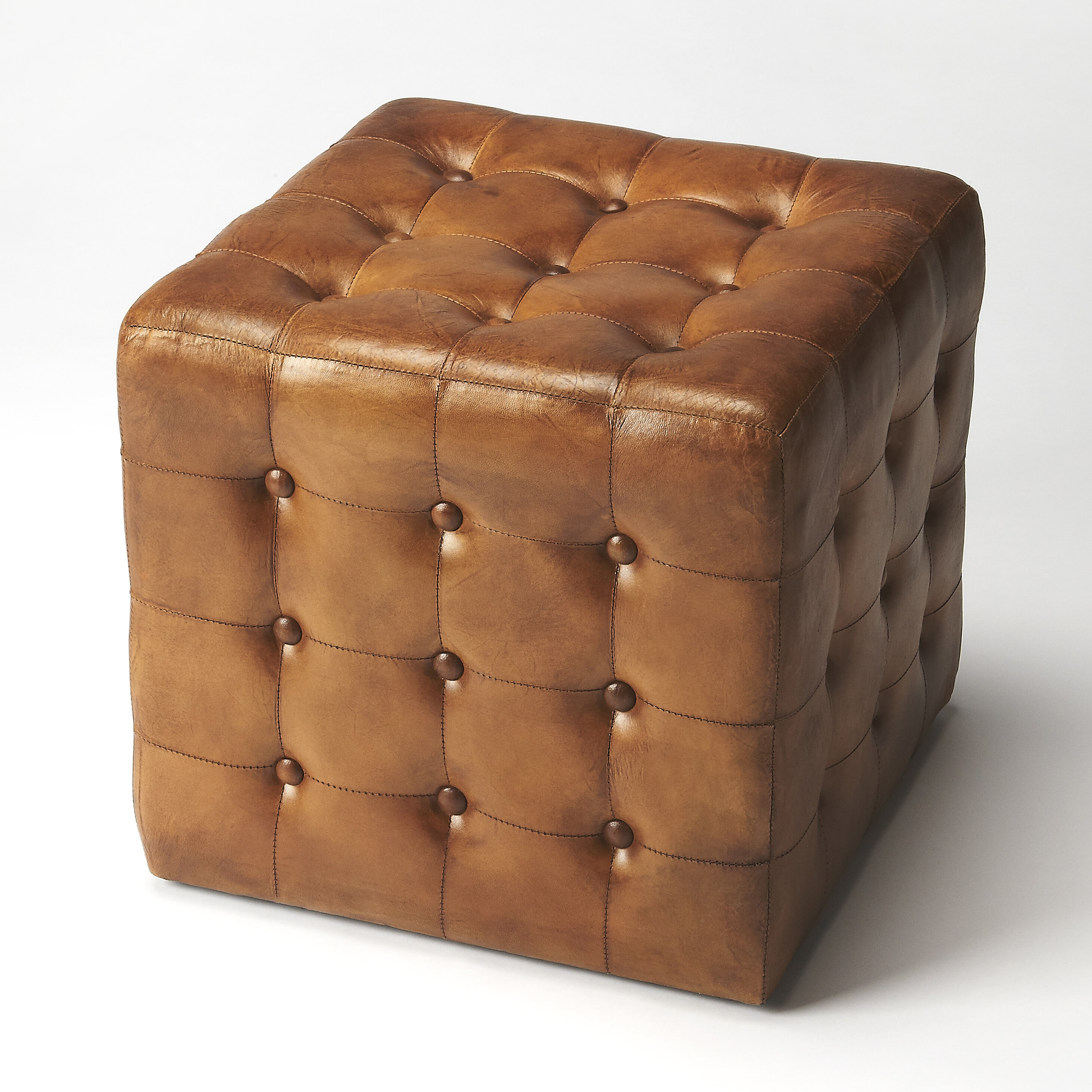 Darby home co archer leather cube ottoman reviews wayfair