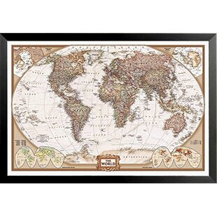 National geographic world map wayfair national geographic map executive style rectangle framed print gumiabroncs Gallery