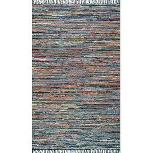 Sergio Hand-Woven Blue/Orange Area Rug