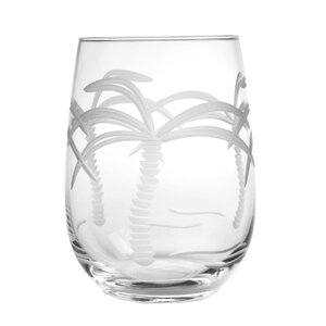 Palm Tree 17 oz. Stemless Wine Glass (Set of 4)