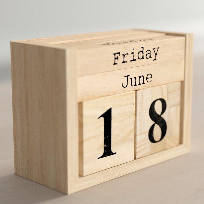 Sibylla Paulownia Wood Perpetual Calendar