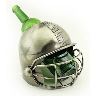 Fraizer Large Football Player Helmet Metal 1 Bottle Tabletop Wine Bottle Holder