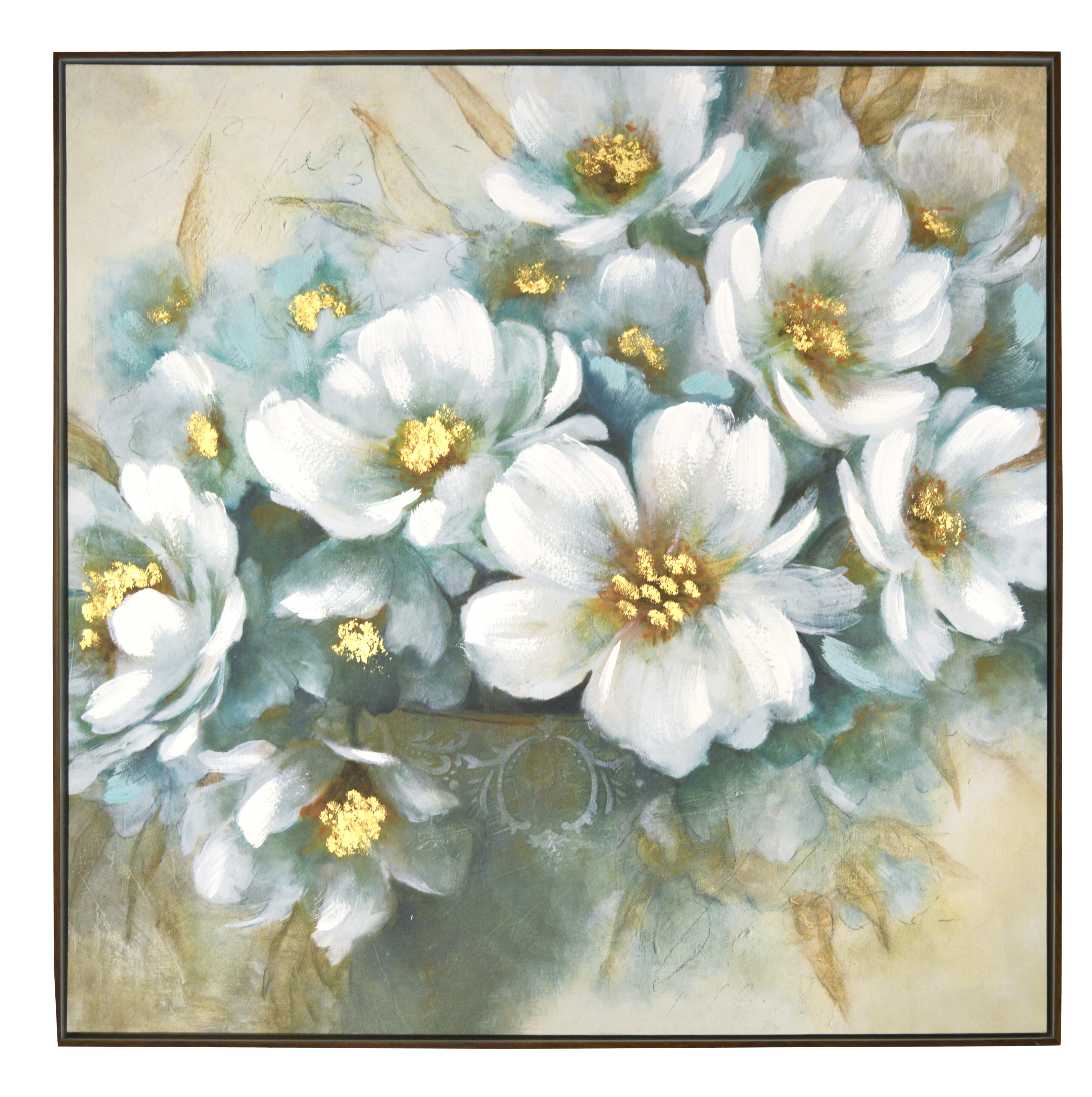 House Of Hampton White Floral Framed Acrylic Painting Print On