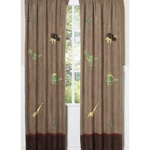 Dinosaur Land Wildlife Semi Sheer Rod Pocket Curtain Panels Set Of 2