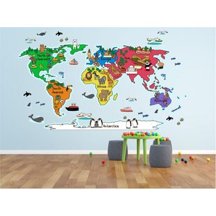Large world map wall decal wayfair hinz world map wall decal gumiabroncs Images