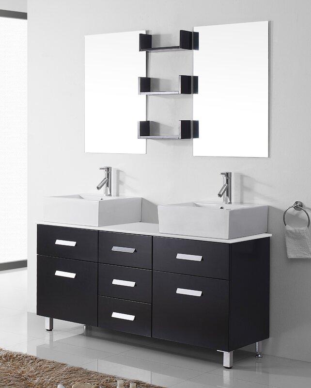 "Ultra Modern Bathroom Vanities virtu usa ultra modern series 56"" double bathroom vanity set with"
