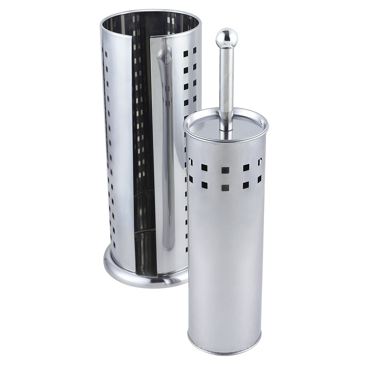 Sabichi spare free standing toilet roll and brush holder Glass toilet roll holder
