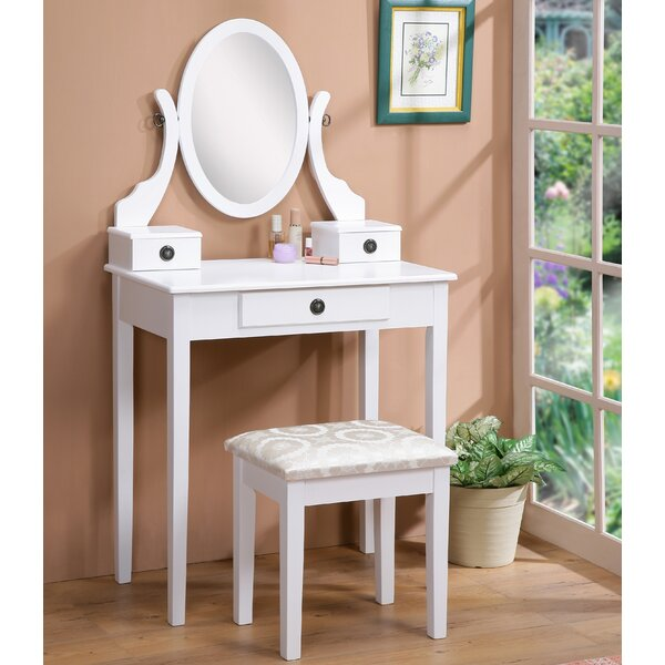 vanity table with lights around mirror. roundhill furniture moniya wood vanity set with mirror \u0026 reviews | wayfair table lights around s