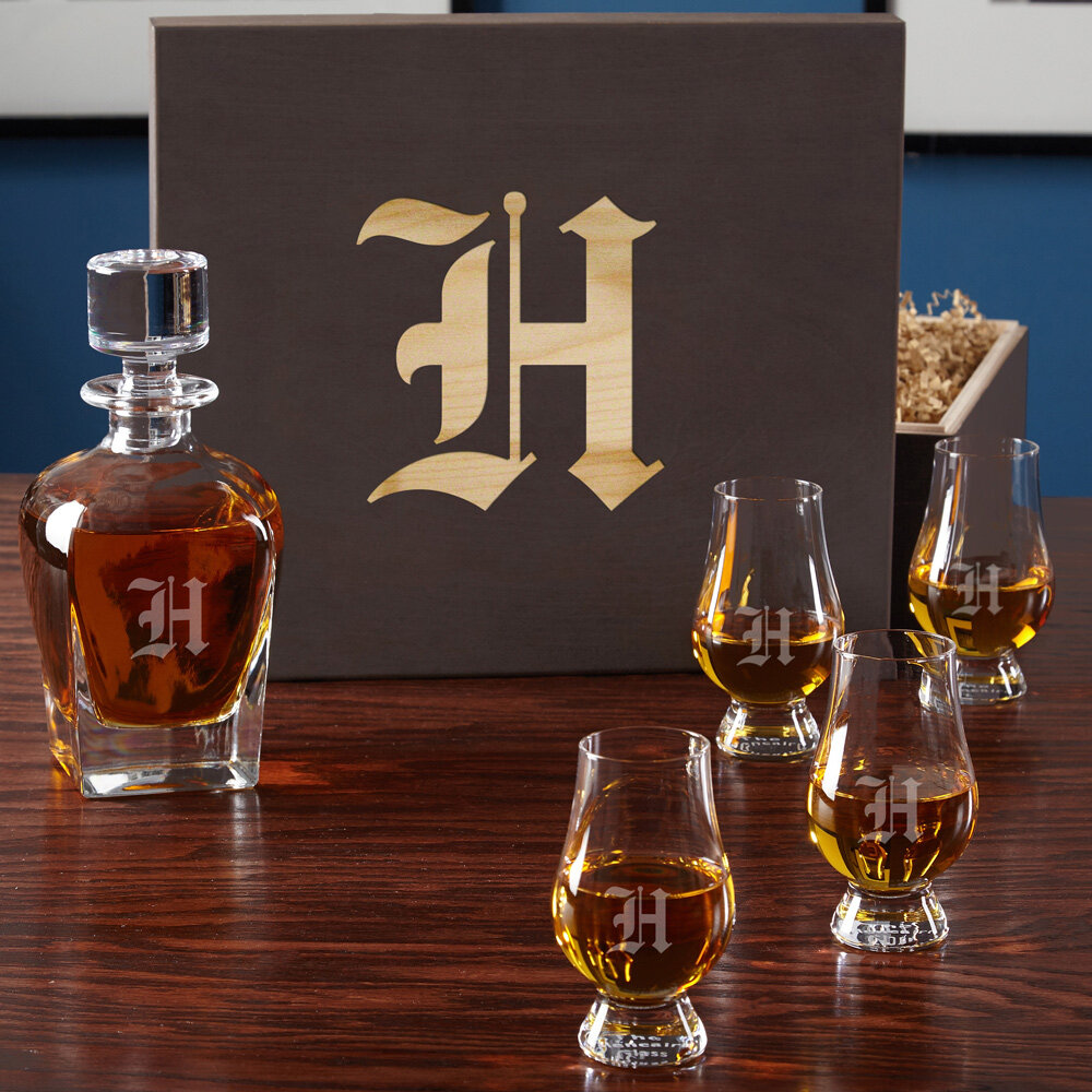 6aa6bf4287e Personalized 5 Piece Whiskey Decanter Set